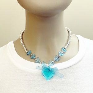 Vintage Girls' silver & blue heart bead necklace